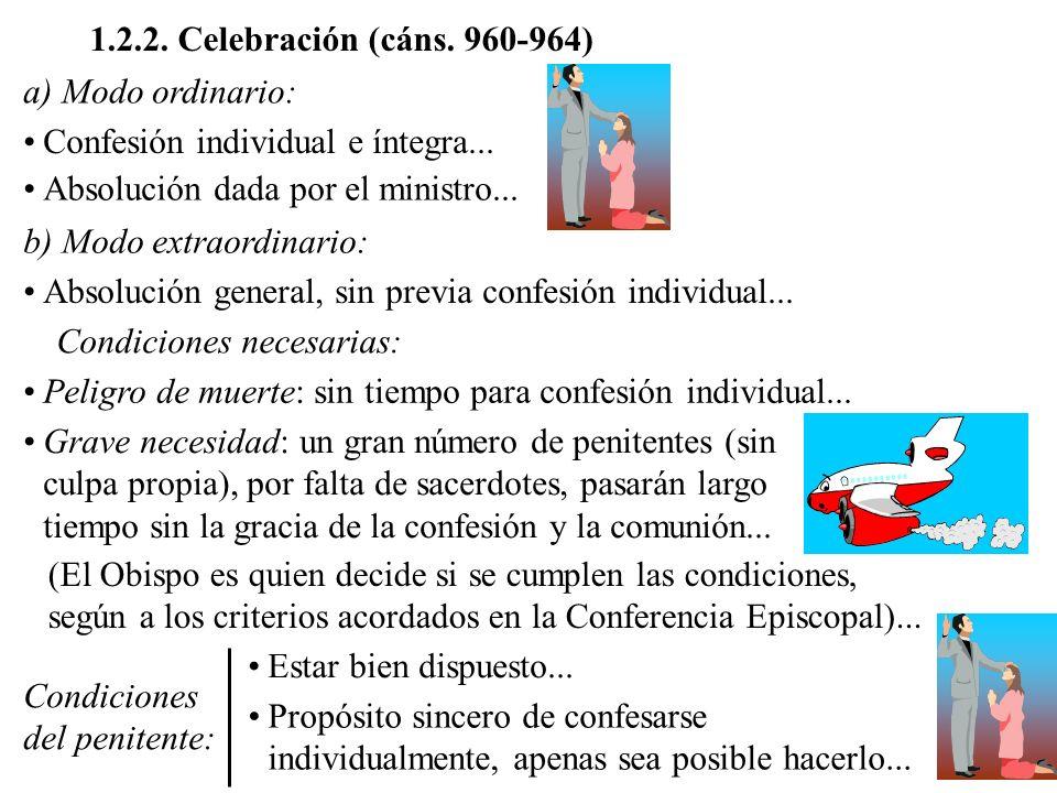 1.2.2. Celebración (cáns. 960-964) a) Modo ordinario: Confesión individual e íntegra... Absolución dada por el ministro...