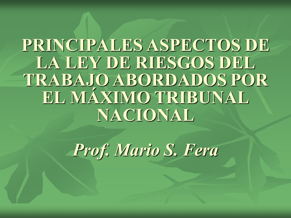 PRINCIPALES ASPECTOS DE LA LEY DE RIESGOS DEL TRABAJO ABORDADOS POR EL MÁXIMO TRIBUNAL NACIONAL Prof.