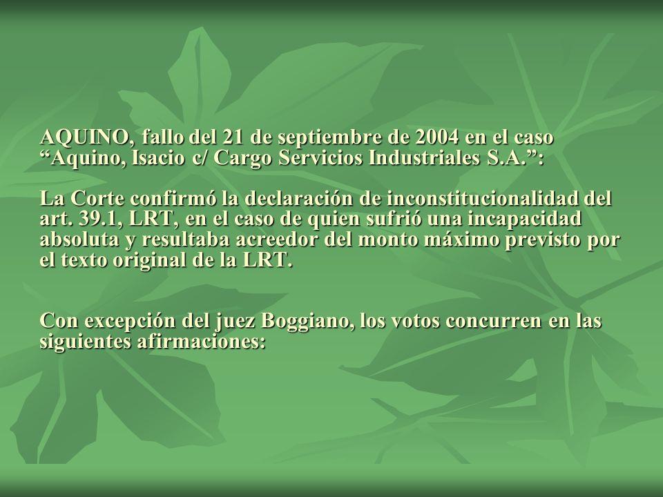 AQUINO, fallo del 21 de septiembre de 2004 en el caso Aquino, Isacio c/ Cargo Servicios Industriales S.A. : La Corte confirmó la declaración de inconstitucionalidad del art.