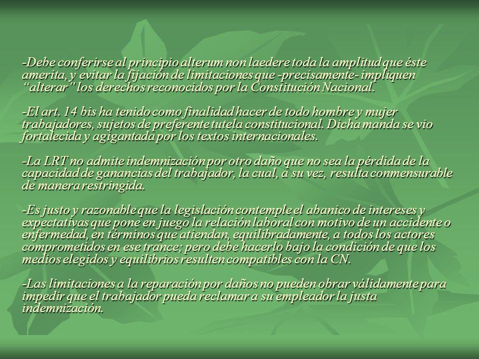 -Debe conferirse al principio alterum non laedere toda la amplitud que éste amerita, y evitar la fijación de limitaciones que -precisamente- impliquen alterar los derechos reconocidos por la Constitución Nacional.