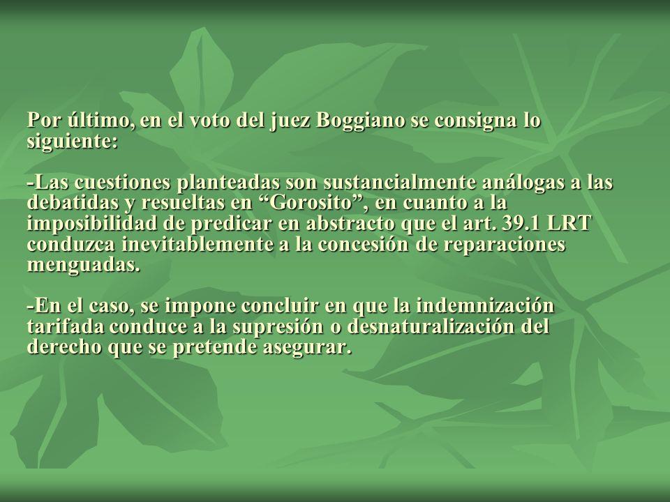 Por último, en el voto del juez Boggiano se consigna lo siguiente: -Las cuestiones planteadas son sustancialmente análogas a las debatidas y resueltas en Gorosito , en cuanto a la imposibilidad de predicar en abstracto que el art.