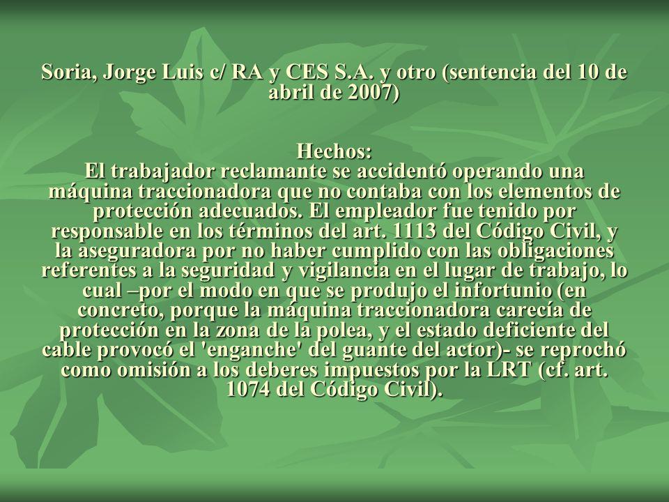 Soria, Jorge Luis c/ RA y CES S. A