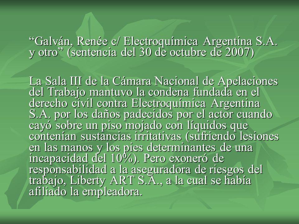 Galván, Renée c/ Electroquímica Argentina S. A