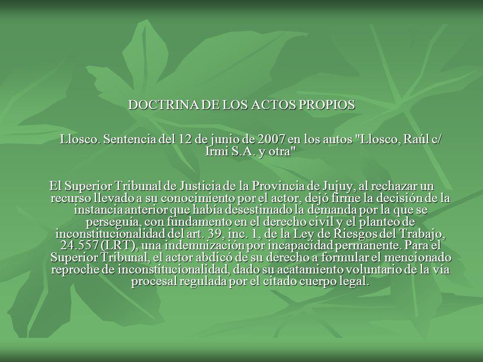 DOCTRINA DE LOS ACTOS PROPIOS
