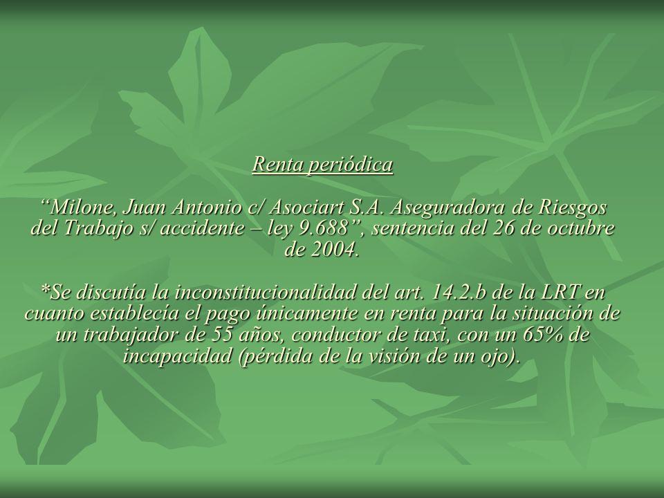 Renta periódica Milone, Juan Antonio c/ Asociart S. A