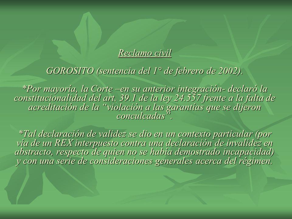 Reclamo civil GOROSITO (sentencia del 1° de febrero de 2002)