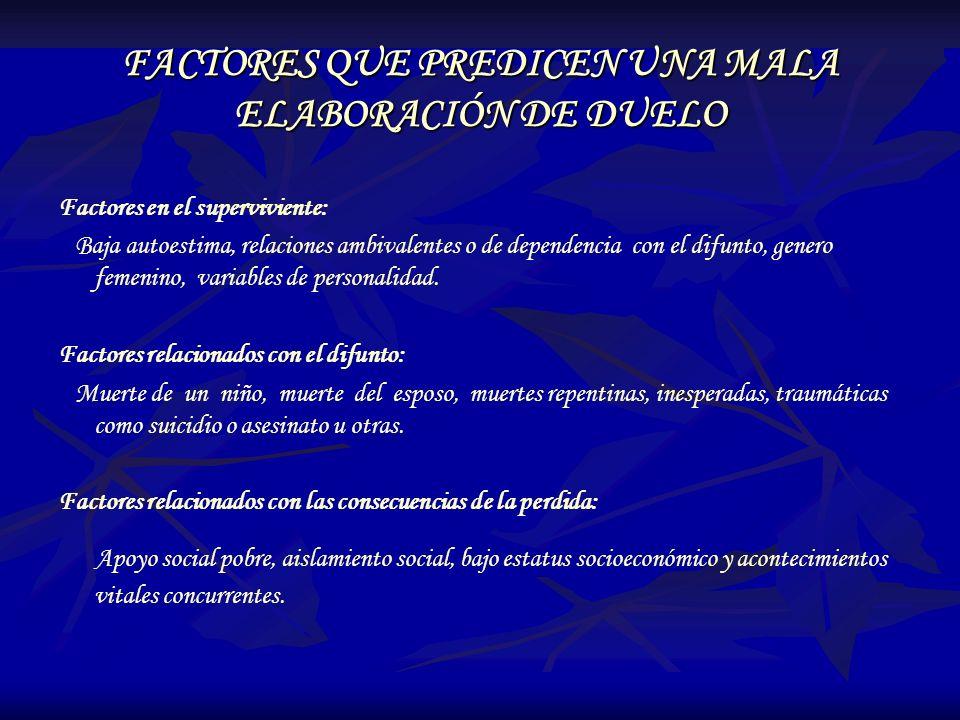 FACTORES QUE PREDICEN UNA MALA ELABORACIÓN DE DUELO