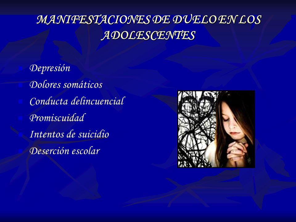 MANIFESTACIONES DE DUELO EN LOS ADOLESCENTES