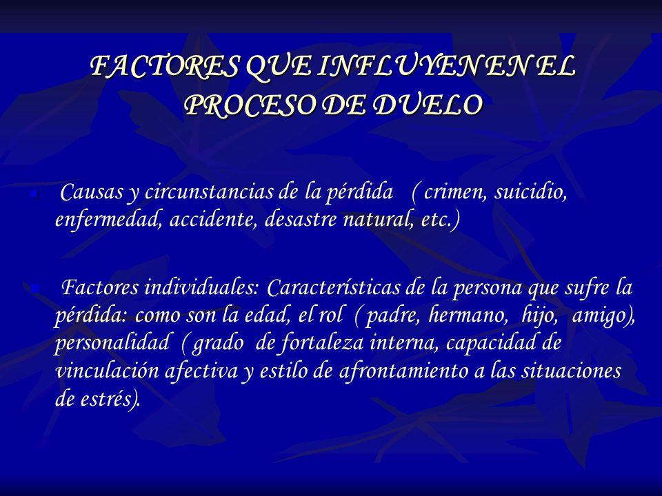 FACTORES QUE INFLUYEN EN EL PROCESO DE DUELO