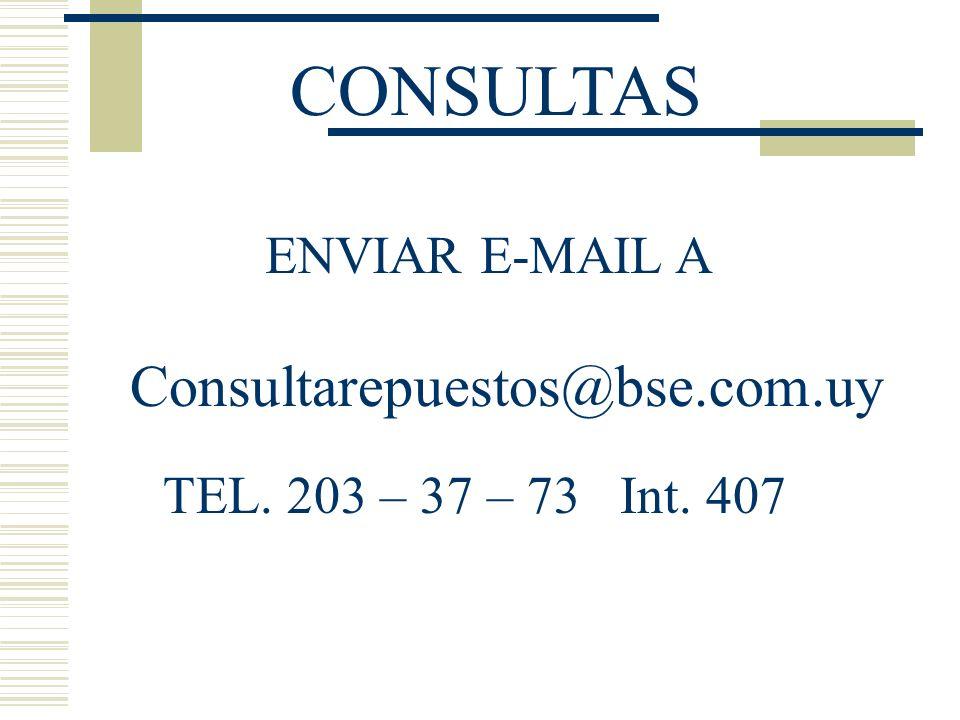CONSULTAS Consultarepuestos@bse.com.uy ENVIAR E-MAIL A