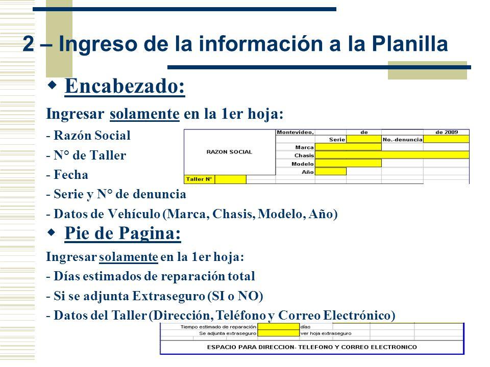 2 – Ingreso de la información a la Planilla