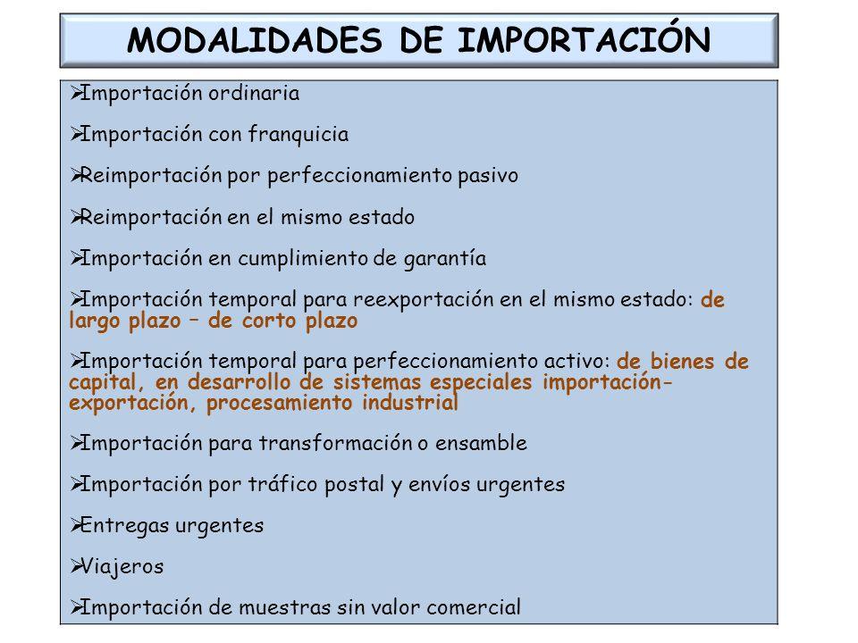 MODALIDADES DE IMPORTACIÓN