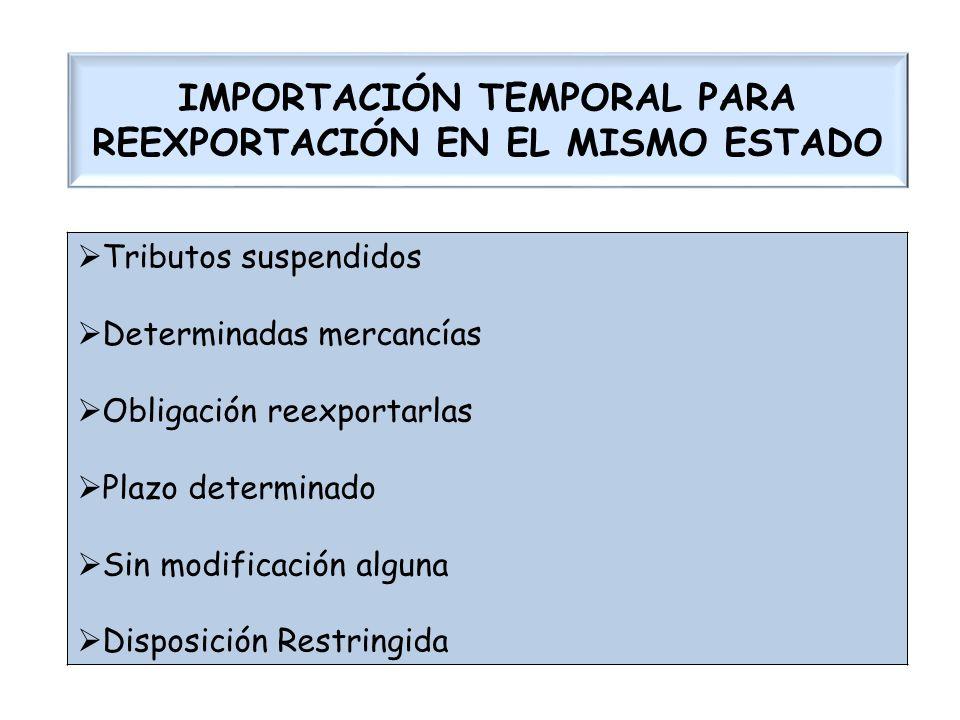 IMPORTACIÓN TEMPORAL PARA REEXPORTACIÓN EN EL MISMO ESTADO