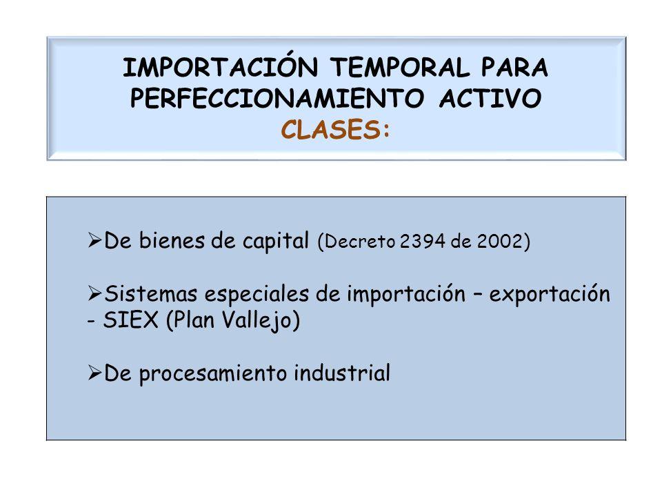 IMPORTACIÓN TEMPORAL PARA PERFECCIONAMIENTO ACTIVO CLASES: