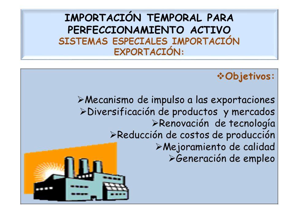 IMPORTACIÓN TEMPORAL PARA PERFECCIONAMIENTO ACTIVO SISTEMAS ESPECIALES IMPORTACIÓN EXPORTACIÓN:
