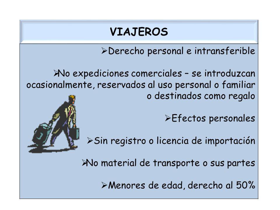 VIAJEROS Derecho personal e intransferible