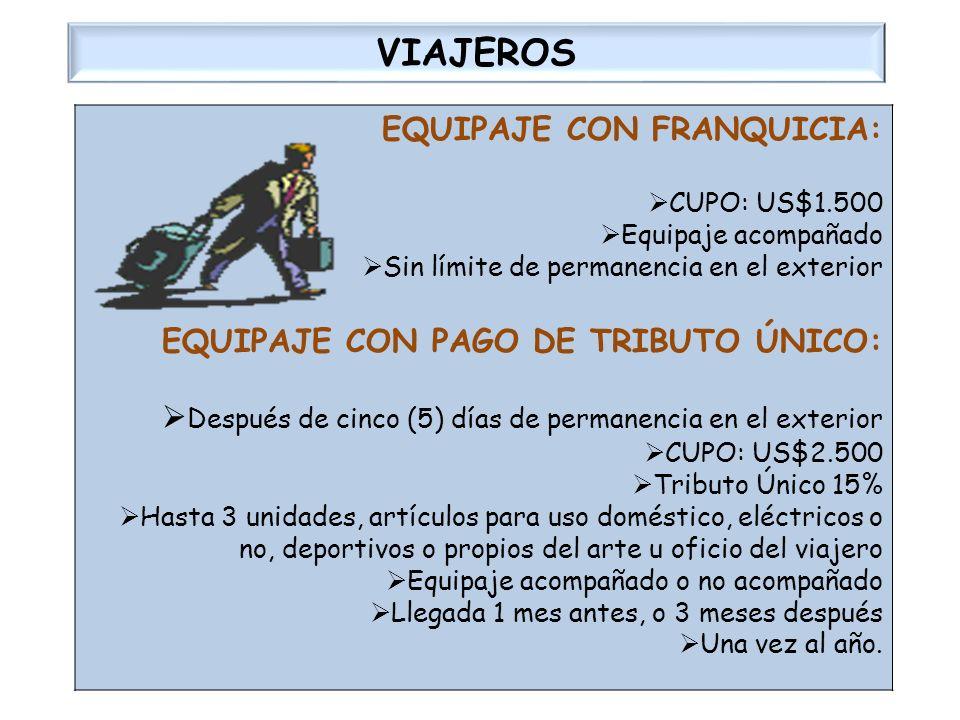 VIAJEROS EQUIPAJE CON FRANQUICIA: EQUIPAJE CON PAGO DE TRIBUTO ÚNICO:
