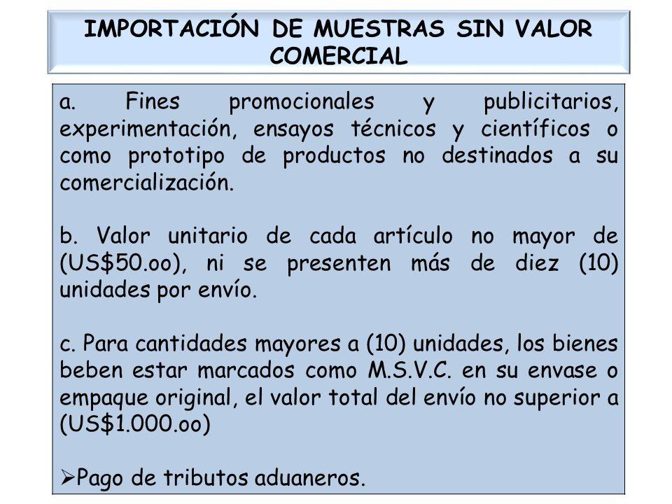IMPORTACIÓN DE MUESTRAS SIN VALOR COMERCIAL