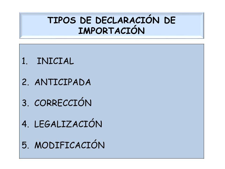 TIPOS DE DECLARACIÓN DE IMPORTACIÓN