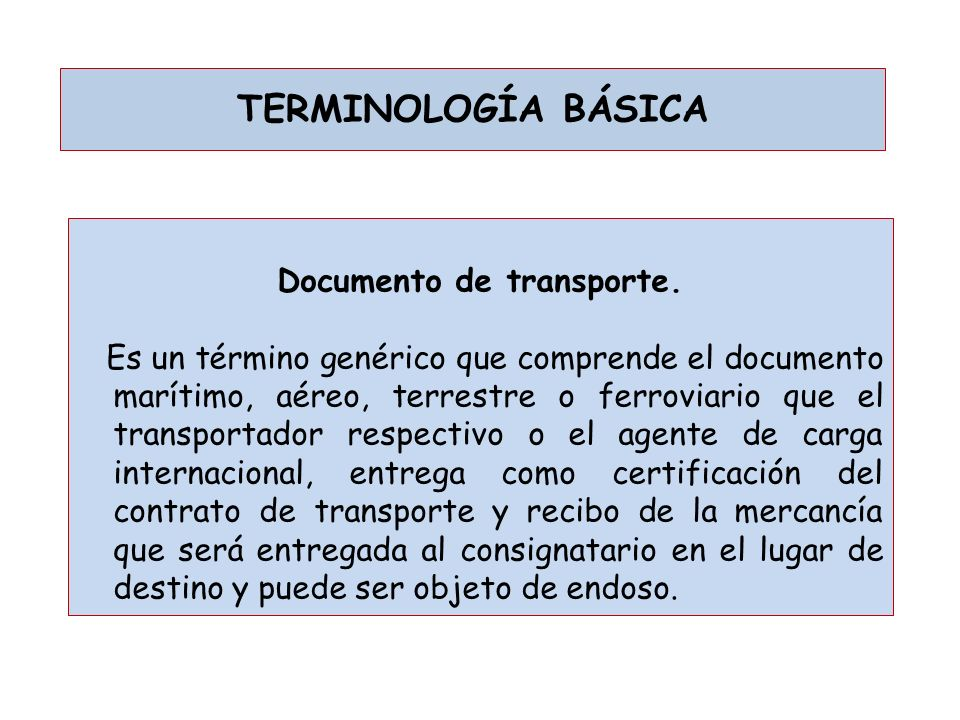 Documento de transporte.