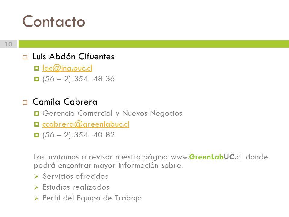 Contacto Luis Abdón Cifuentes Camila Cabrera lac@ing.puc.cl