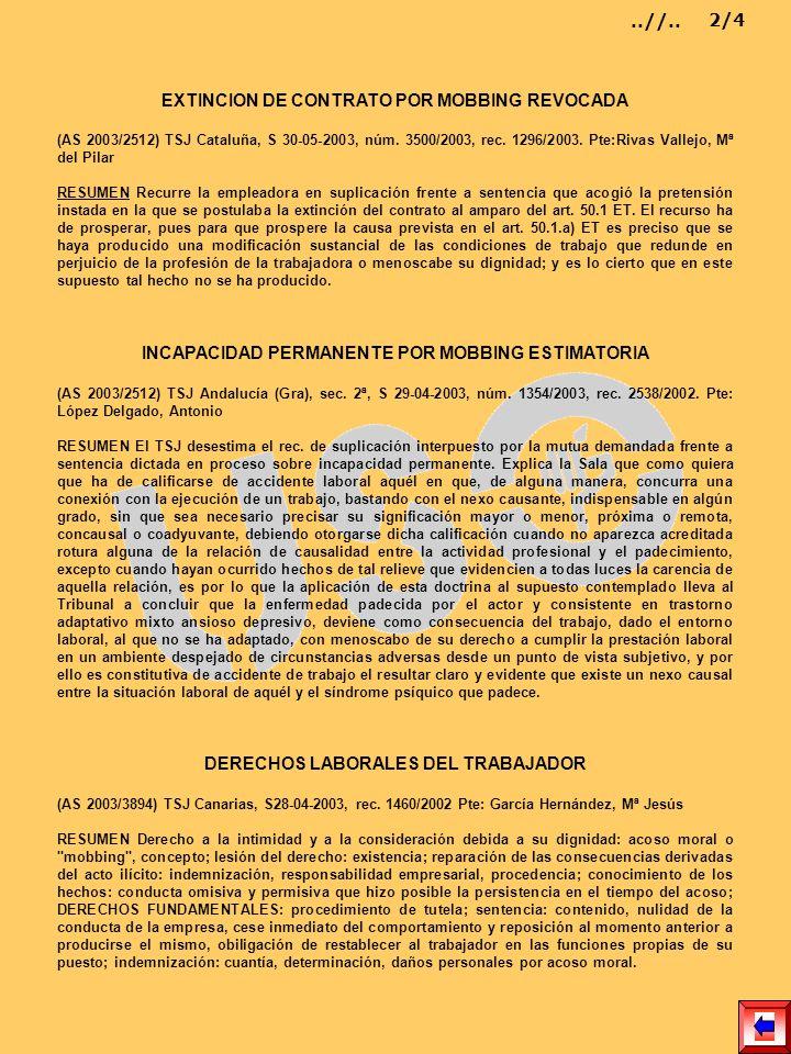 EXTINCION DE CONTRATO POR MOBBING REVOCADA