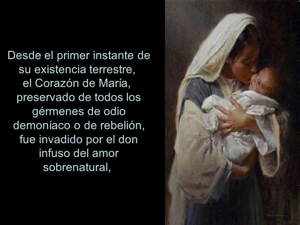 Desde el primer instante de su existencia terrestre, el Corazón de María, preservado de todos los gérmenes de odio demoníaco o de rebelión, fue invadido por el don infuso del amor sobrenatural,