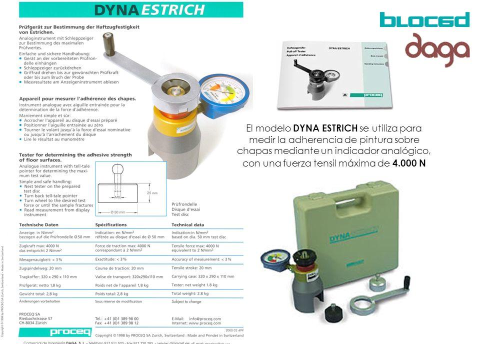 El modelo DYNA ESTRICH se utiliza para medir la adherencia de pintura sobre chapas mediante un indicador analógico, con una fuerza tensil máxima de 4.000 N