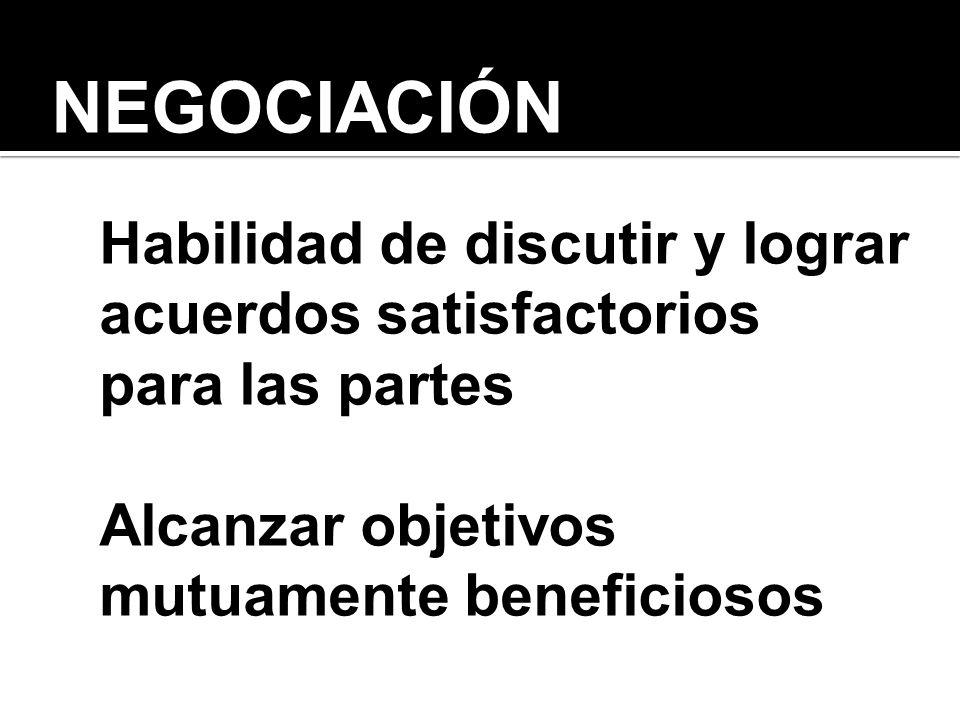 NEGOCIACIÓN Habilidad de discutir y lograr acuerdos satisfactorios para las partes.