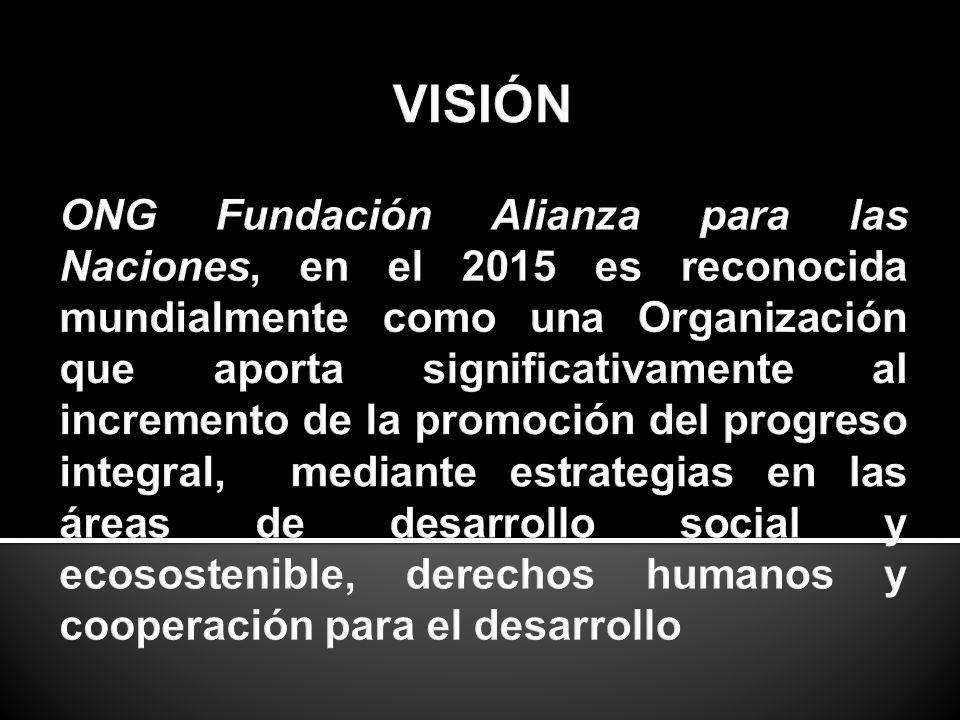 VISIÓN ONG Fundación Alianza para las Naciones, en el 2015 es reconocida mundialmente como una Organización que aporta significativamente al incremento de la promoción del progreso integral, mediante estrategias en las áreas de desarrollo social y ecosostenible, derechos humanos y cooperación para el desarrollo