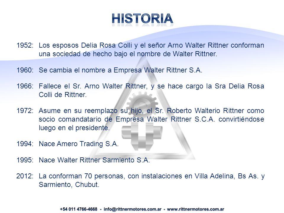 HISTORIa 1952: Los esposos Delia Rosa Colli y el señor Arno Walter Rittner conforman una sociedad de hecho bajo el nombre de Walter Rittner.