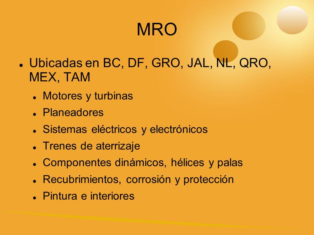MRO Ubicadas en BC, DF, GRO, JAL, NL, QRO, MEX, TAM Motores y turbinas