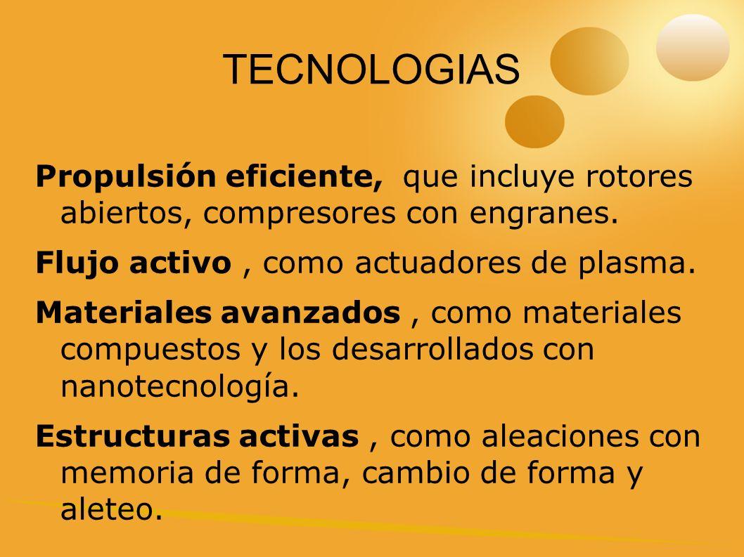 TECNOLOGIAS Propulsión eficiente, que incluye rotores abiertos, compresores con engranes. Flujo activo , como actuadores de plasma.