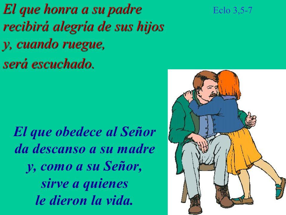 El que obedece al Señor da descanso a su madre y, como a su Señor,