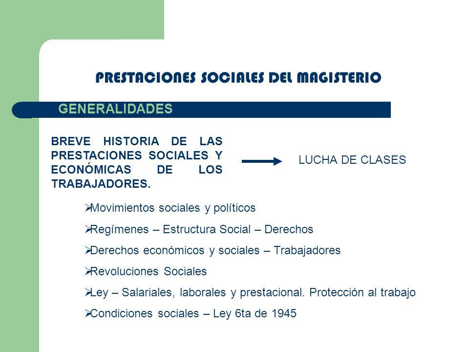 PRESTACIONES SOCIALES DEL MAGISTERIO