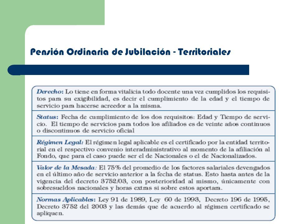 Pensión Ordinaria de Jubilación - Territoriales