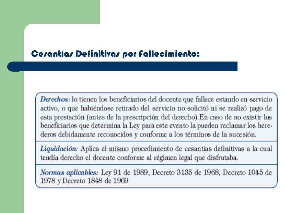 Cesantías Definitivas por Fallecimiento: