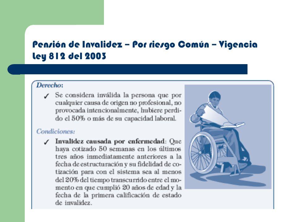 Pensión de Invalidez – Por riesgo Común – Vigencia Ley 812 del 2003