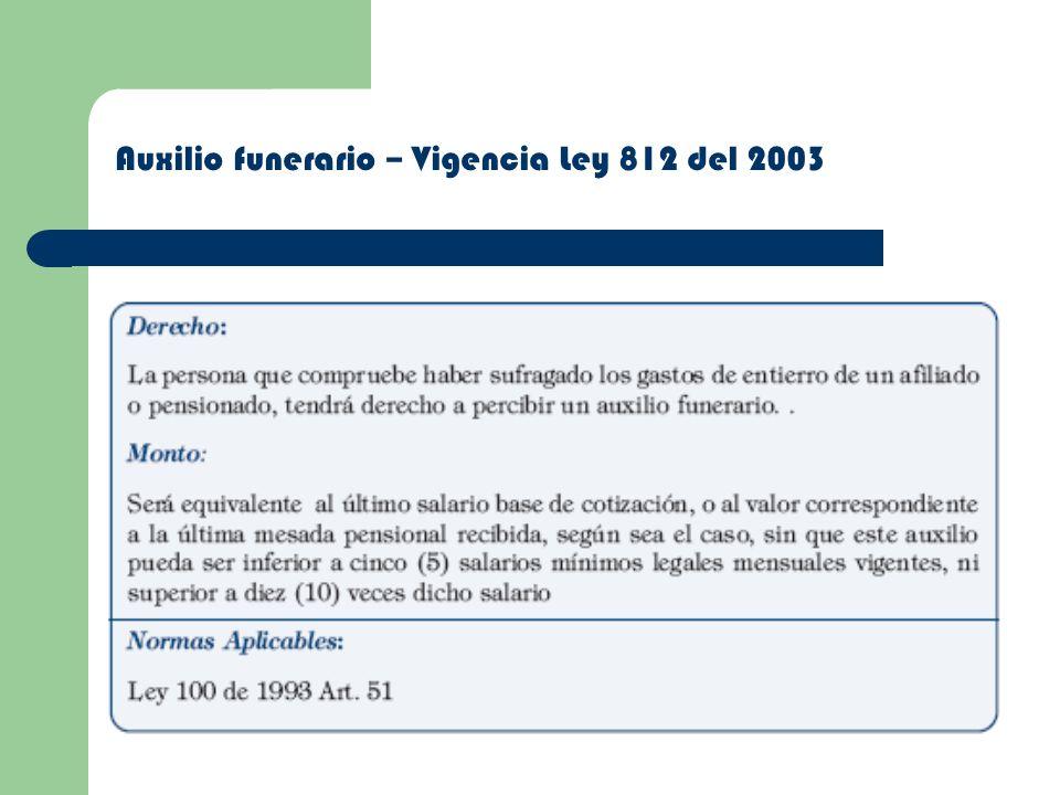 Auxilio funerario – Vigencia Ley 812 del 2003