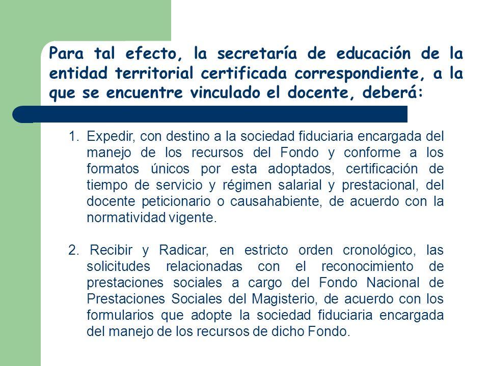 Para tal efecto, la secretaría de educación de la entidad territorial certificada correspondiente, a la que se encuentre vinculado el docente, deberá: