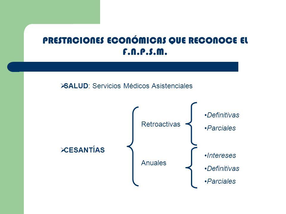 PRESTACIONES ECONÓMICAS QUE RECONOCE EL F.N.P.S.M.