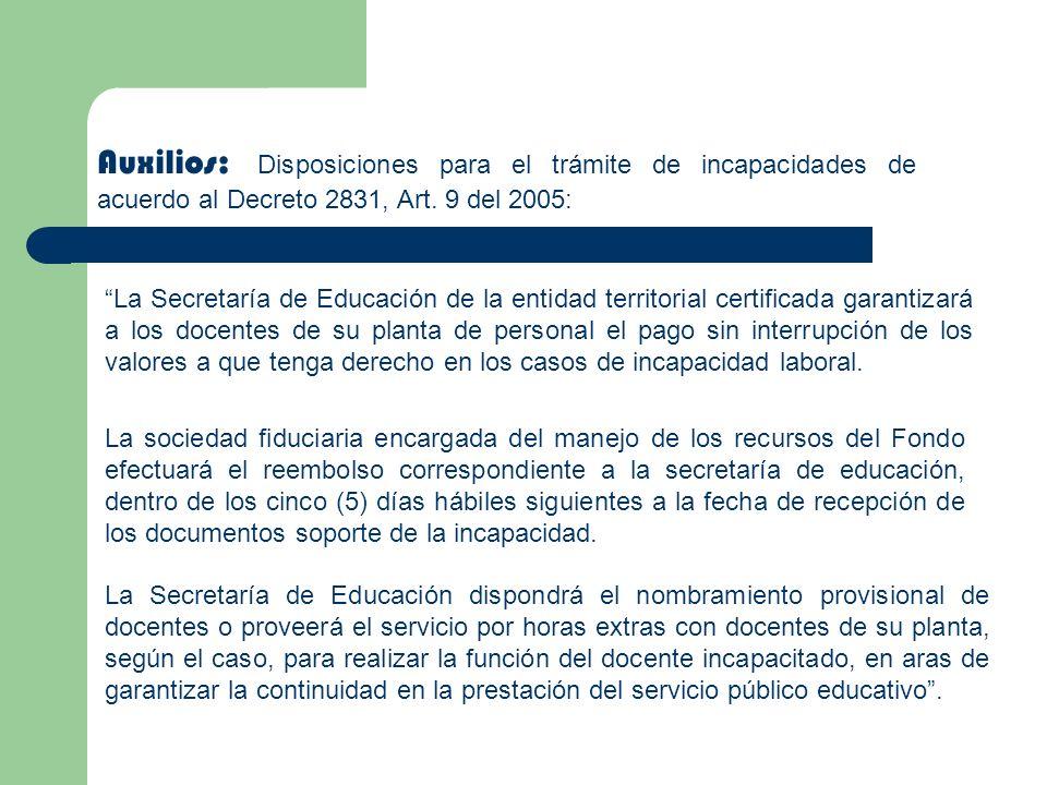 Auxilios: Disposiciones para el trámite de incapacidades de acuerdo al Decreto 2831, Art. 9 del 2005: