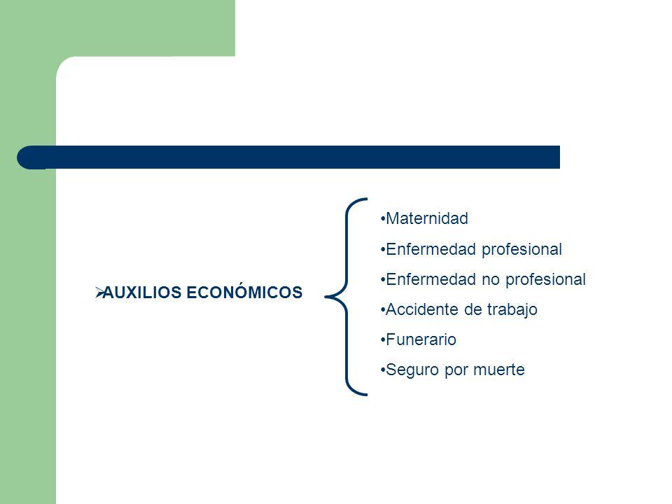 AUXILIOS ECONÓMICOS Maternidad. Enfermedad profesional. Enfermedad no profesional. Accidente de trabajo.
