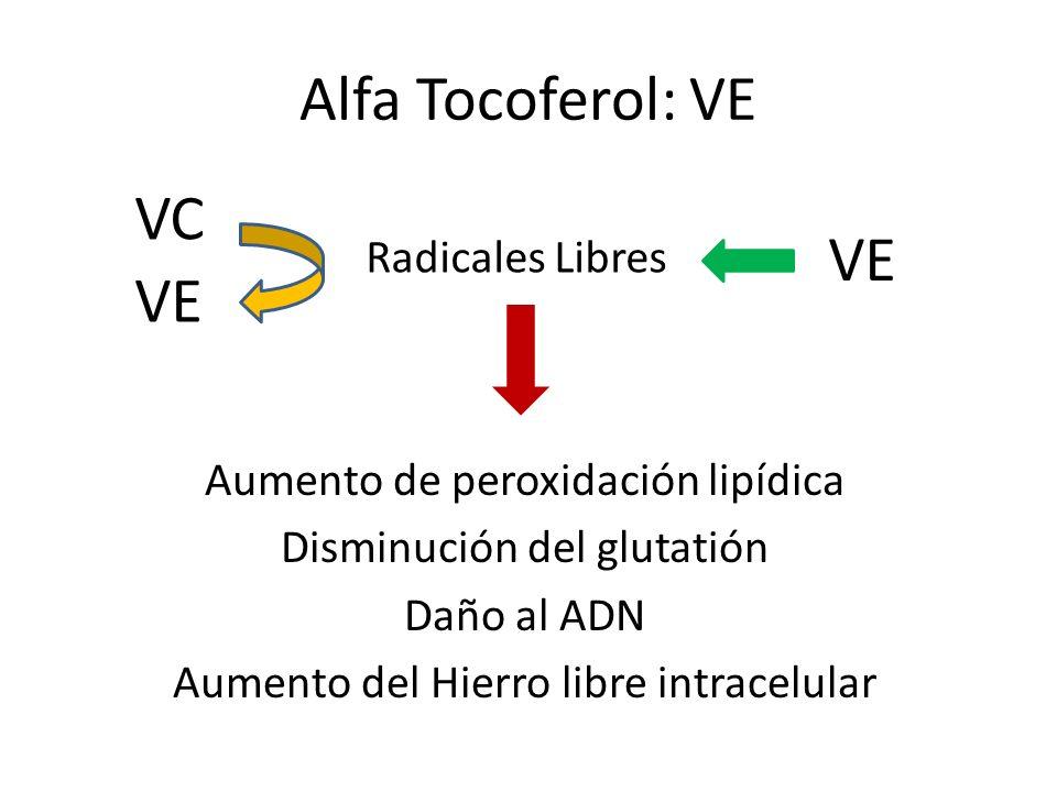 Alfa Tocoferol: VE VC VE VE Radicales Libres
