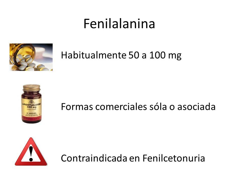 Fenilalanina Habitualmente 50 a 100 mg