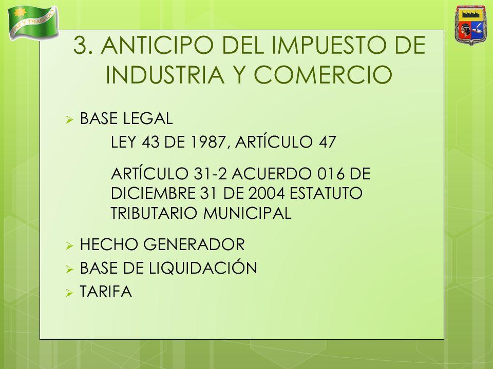 3. ANTICIPO DEL IMPUESTO DE INDUSTRIA Y COMERCIO