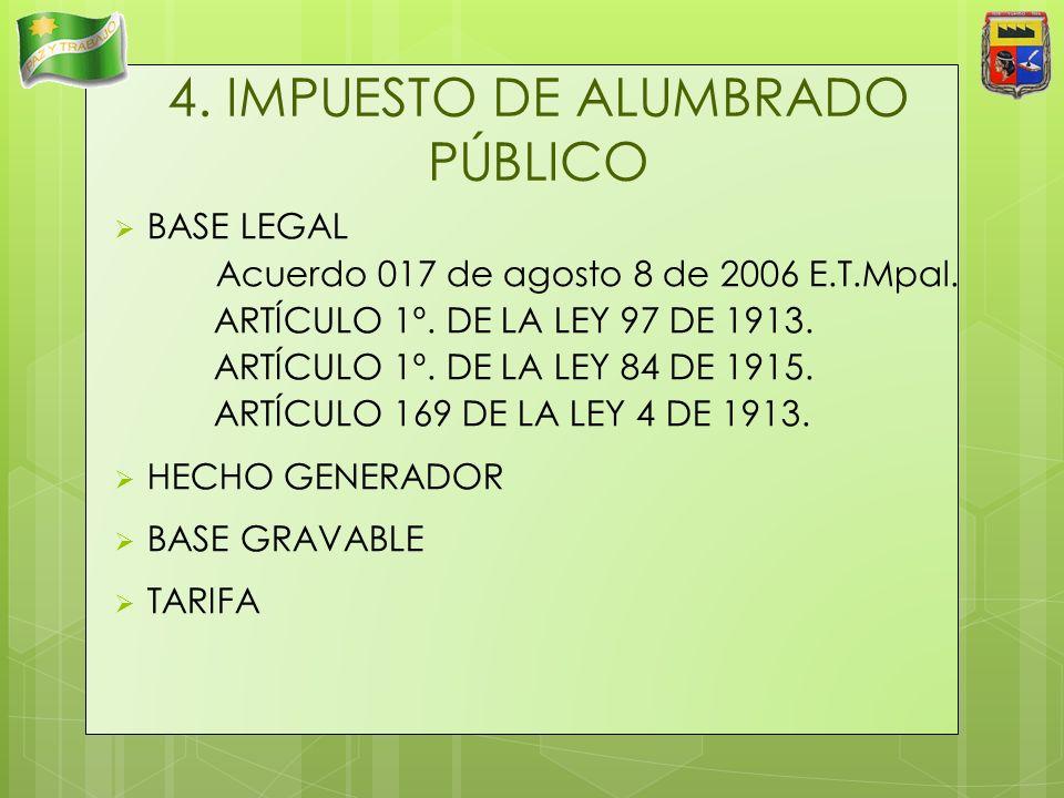 4. IMPUESTO DE ALUMBRADO PÚBLICO