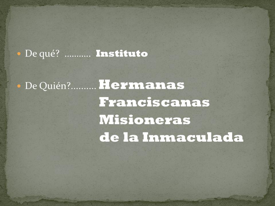Franciscanas Misioneras de la Inmaculada De qué ……….. Instituto