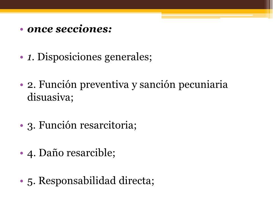 once secciones: 1. Disposiciones generales; 2. Función preventiva y sanción pecuniaria disuasiva;