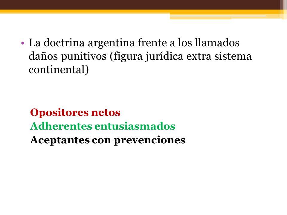 La doctrina argentina frente a los llamados daños punitivos (figura jurídica extra sistema continental)